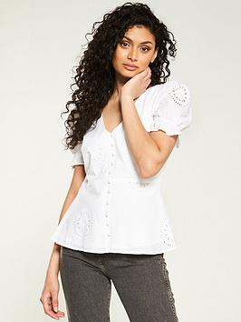 v-by-very-broderie-puff-sleeve-button-through-top-white