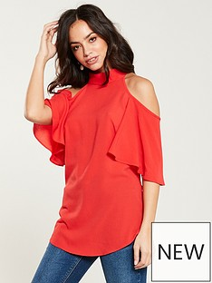 v-by-very-printed-cold-shoulder-top-coral