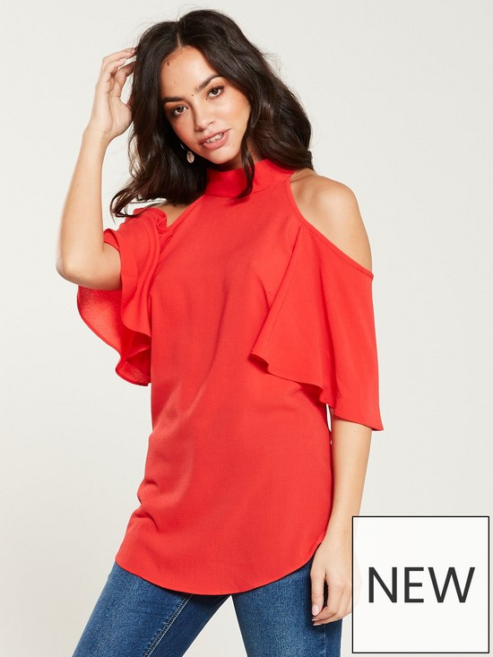 bf3de68ae36 V by Very Printed Cold Shoulder Top - Coral | very.co.uk