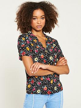 v-by-very-floral-animal-button-through-shirt-printed