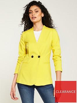 v-by-very-collarless-blazer-yellow