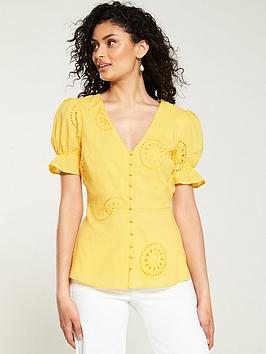 v-by-very-broderie-puff-sleeve-button-through-top-yellow