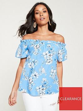 v-by-very-floral-cotton-bardotnbsptop-print