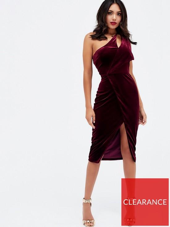 aed061a53f Lavish Alice Velvet One Shoulder Cut Out Midi Dress - Burgundy ...