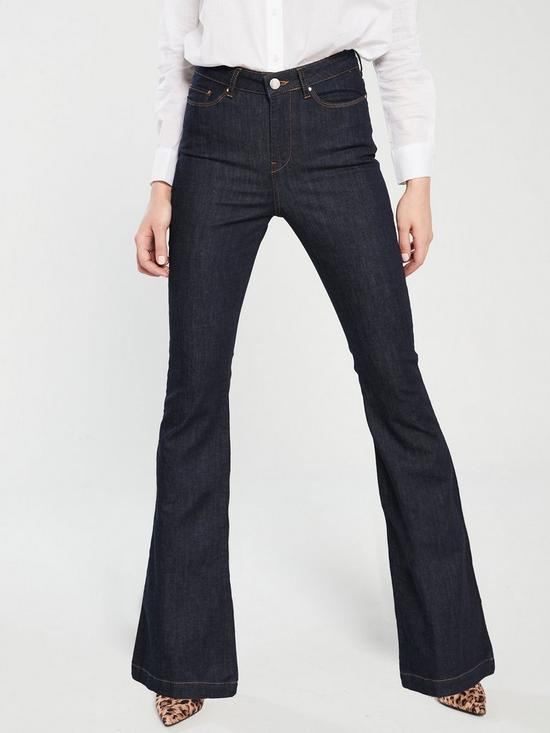 667fd82ec3045c V by Very High Waisted Flare Jeans - Dark Wash | very.co.uk