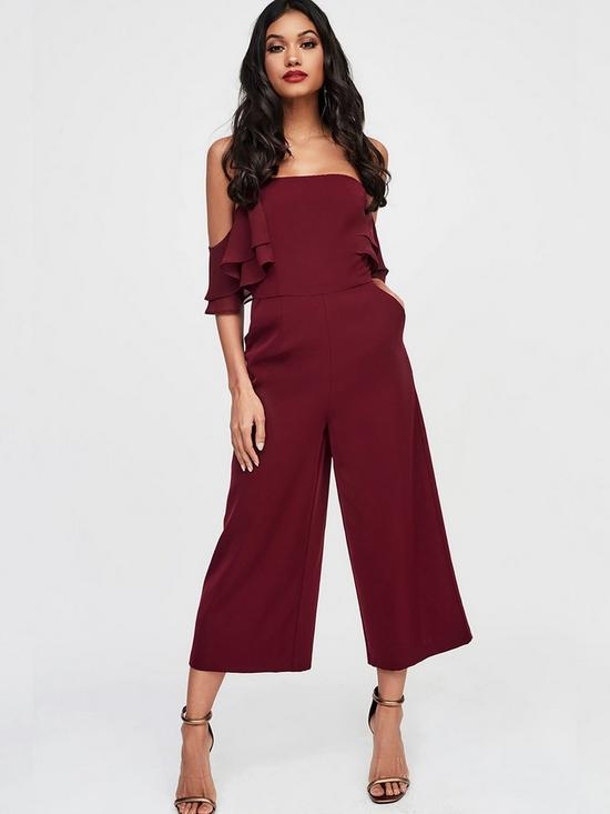 4fc0ef88e94b Lavish Alice Lavish Alice Double Tiered Chiffon Mix Off The Shoulder  Culotte Jumpsuit