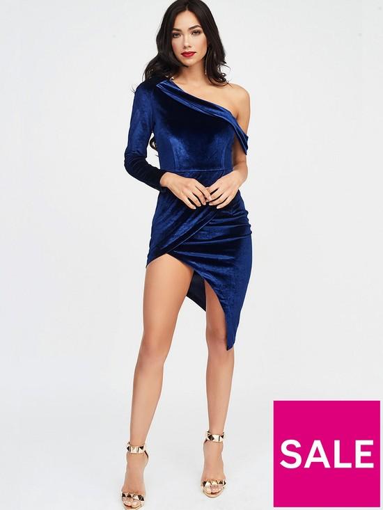 Lavish Alice Velvet One Shoulder Wrap Midi Dress - Navy  10a018261