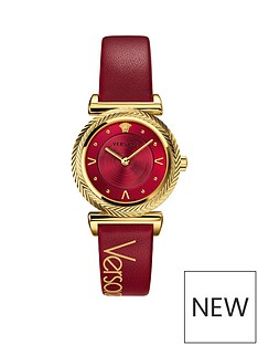 versace-versace-v-motif-red-sunray-and-gold-ip-35mm-dial-red-leather-strap-ladies-watch