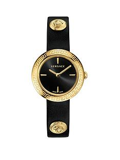 5544d45e16a VERSACE Versace Black and Gold IP 28mm Dial Gold Medusa Stud Icon Black  Leather Wrap Strap Ladies Watch
