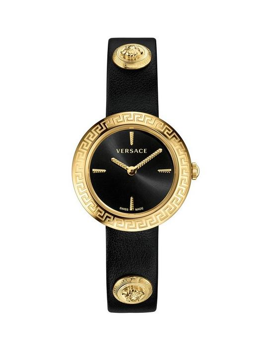 9cc33b7686 VERSACE Versace Black and Gold IP 28mm Dial Gold Medusa Stud Icon Black  Leather Wrap Strap Ladies Watch