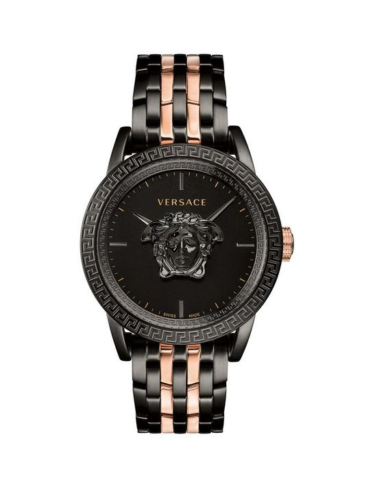 4d6f4b89a4e VERSACE Versace Palazzo Empire Black 3D Medusa 43mm Dial Black IP and Rose  Gold Stainless Steel Bracelet Mens Watch