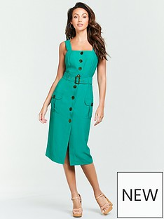 07441471505 Michelle Keegan Belted Linen Midi Dress - Green