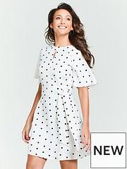 cdd91bdaff0 Michelle Keegan Spot Tie Waist Skater Dress - Monochrome