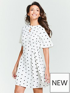 cdd91bdaff0 Michelle Keegan Spot Tie Waist Skater Dress - Monochrome