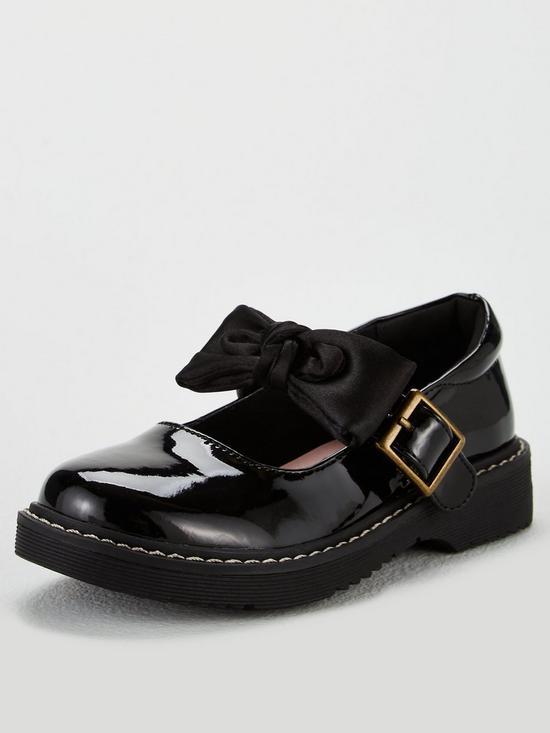 9c3fc988c5725 Girls Becca 3D Bow Chunky School Shoes - Black