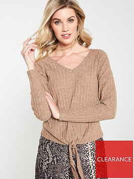 v-by-very-tie-front-slouch-jumper-oatmeal