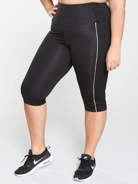 45bfb8ccac878 V by Very Curve High Waisted Crop Gym Leggings - Black   very.co.uk