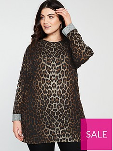 71f9fc56222d V by Very Curve Longline Printed Sweat Top - Leopard Print