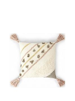 monsoon-textured-shimmer-tassel-cushion