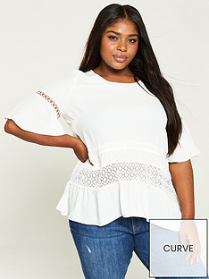 7a8b4d687ea V by Very Curve Lace Trim Blouse - Ivory