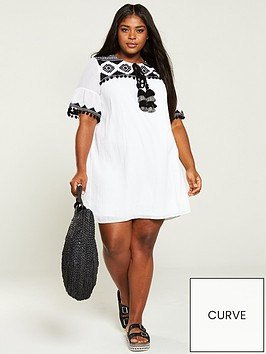 v-by-very-curve-embroidered-tassel-dress-white
