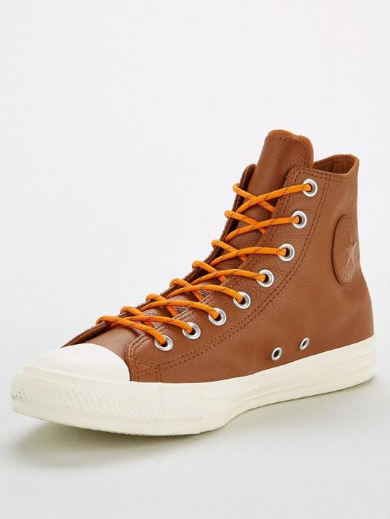 527738a1c104 Converse Chuck Taylor All Star Leather Hi Trainers - Tan White ...