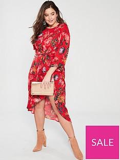 159b0c867 AX PARIS CURVE Printed Sleeve Dress - Red