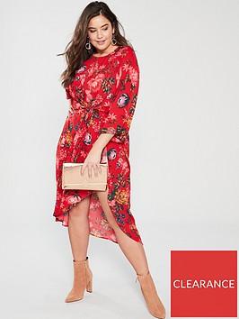 ax-paris-curve-printed-sleeve-dress-red