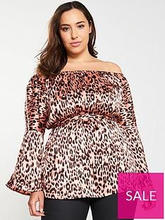 ax-paris-curve-leopard-print-bardotnbspblouse-pink