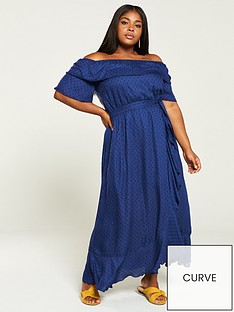 4556c4ea9d2 V by Very Curve Dobby Ruffle Maxi Dress - Navy