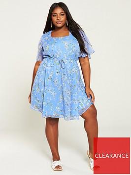 v-by-very-curve-square-neck-tea-dress-ditsy-print