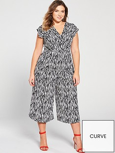 06c985c7b1 AX PARIS CURVE Zebra Print Jumpsuit - Black White