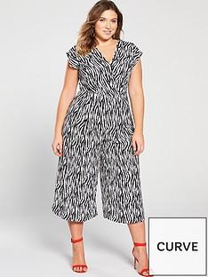 ef3cdca0b938 AX PARIS CURVE Zebra Print Jumpsuit - Black White