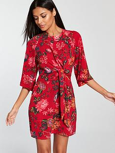 e1b2025edc AX Paris Knot Front Floral Dress - Red