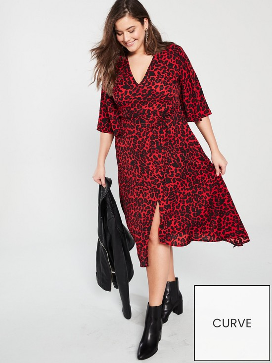 1a0a2757d15 AX PARIS CURVE Frill Sleeve Animal Print Midi Dress - Red