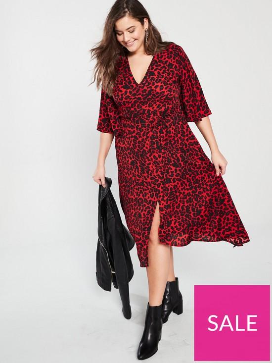 5d1b21f398d4e AX PARIS CURVE Frill Sleeve Animal Print Midi Dress - Red | very.co.uk
