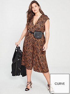 7dbccac655 AX PARIS CURVE Tiger Wrap Jumpsuit - Brown