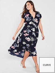b23d9b7715 AX PARIS CURVE Navy Printed Maxi Dress
