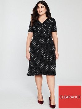 v-by-very-curve-polka-dot-printed-knot-front-dress-black
