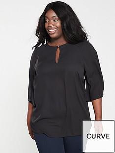 7e5f108ce01 V by Very Curve Kimono Sleeve Longline Blouse - Black