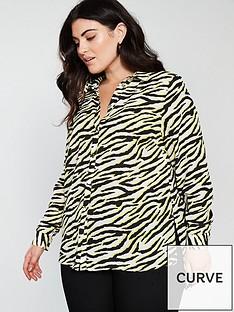 v-by-very-curve-button-through-longline-blouse--nbspzebra-printnbsp