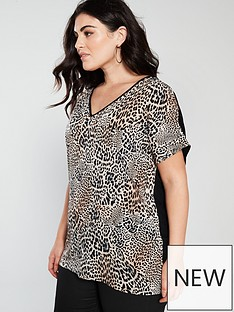 ebee36a15eac43 V by Very Curve Jersey Back Woven Front Printed Tunic - Leopard ...