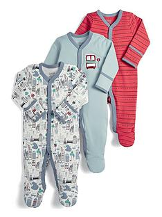 13d773bab96a Mamas   Papas Baby Boys 3 Pack Sleepsuits - Bus Print