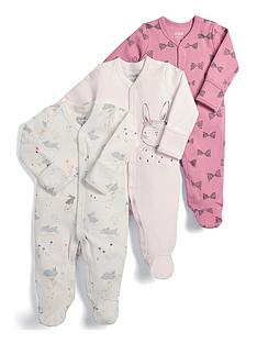 mamas-papas-baby-girls-3-pack-bunny-sleepsuits-pink