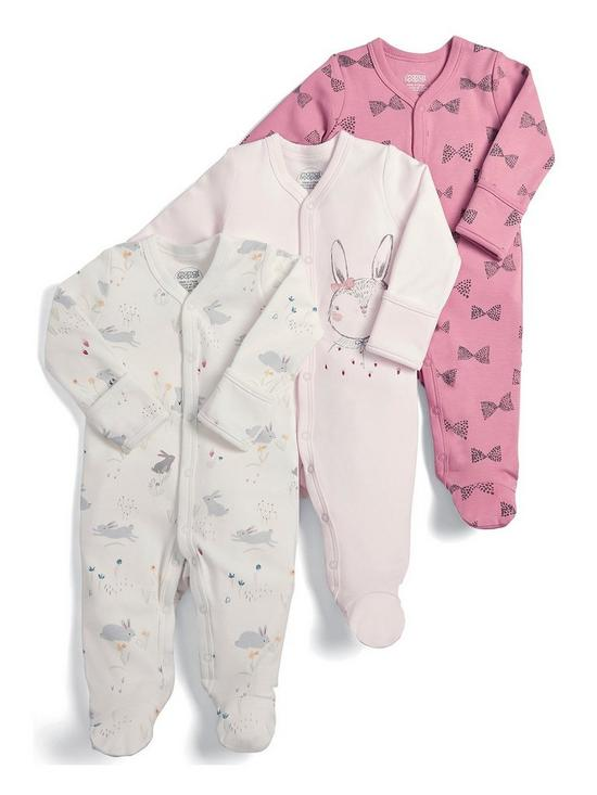 Set Of 2 Next Bunny Baby Grows Sleepsuits Girls First Size 0-3 High Quality Babygrows & Playsuits