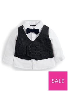 cbbdc0449e914 Mamas & Papas Baby Boys Dogtooth Waistcoat And Shirt Set - Brown