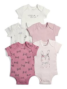 mamas-papas-baby-girls-5-pack-bodysuits-pink