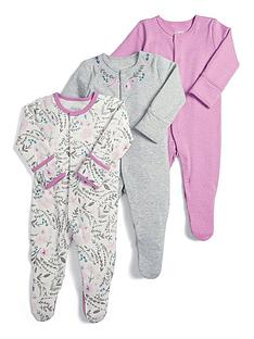 a6ee085db6b4 Mamas   Papas Baby Girls 3 Pack Floral Sleepsuits - Pink
