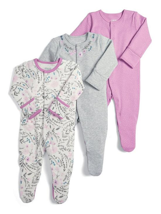 657cba8b5 Mamas   Papas Baby Girls 3 Pack Floral Sleepsuits - Pink