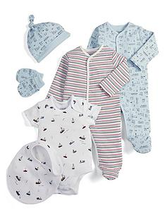 mamas-papas-baby-boys-6-piece-set-with-train-and-boat-prints-and-stripes